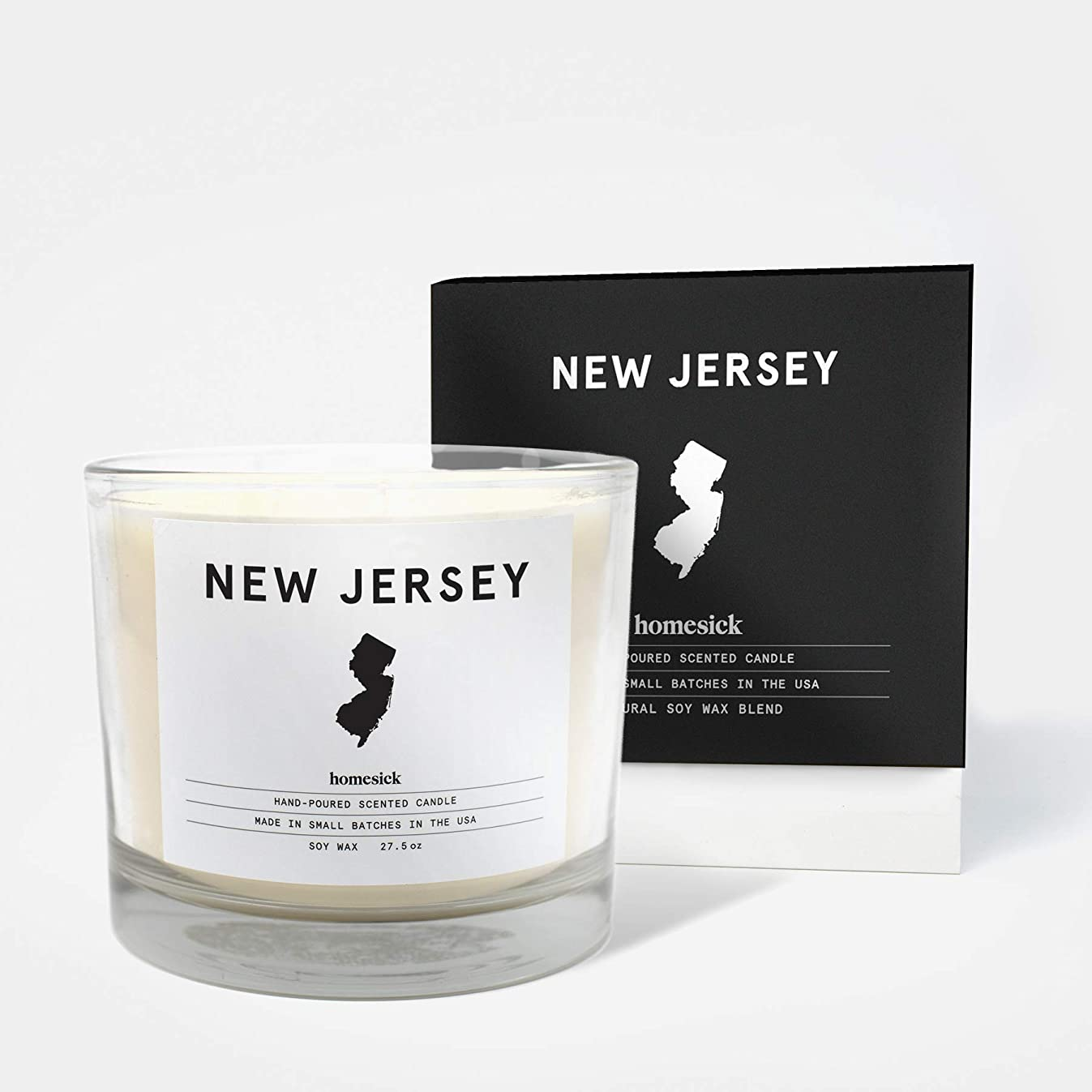 Homesick 3 Wick Scented Candle, Soy Wax - 27.5 oz (90 to 110 hrs Burn Time) New Jersey