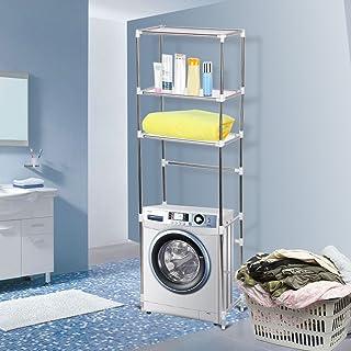 Étagère de Salle de Bain WC Au-Dessus de Toilettes/Machine à Laver, Meuble de Stockage à 3 Niveaux en Acier Inoxydable Arg...