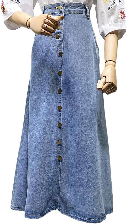 Autumn Long Skirt Women Single Breasted Denim Skirt Plus Size 2XL ALine High Waist