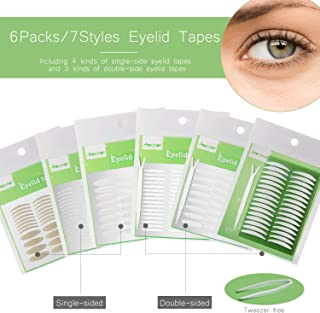 1456Pcs/6Packs/7Styles Eyelid Tapes Invisible Single/Double-Sided Sticky Double Stickers, Medical Fiber Eyelid Lift Strip Without Surgery, for Hooded, Droopy, Uneven, Mono-eyelids