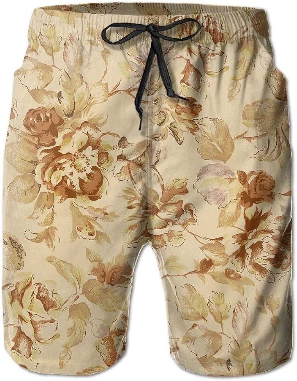 6fd36aafaaa57 Quick Dry Men's Beach Board Shorts Vintage Flowers Pattern Pattern Pattern  Surfing Swim Trunks Beachwear With Pockets d6f7b6