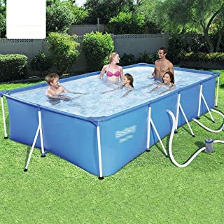 Mopoq Rectangular Metal Frame Swimming Pool Swim Center Family Garden Outdoor Thicken Oversized Paddling Pools for Adults ...