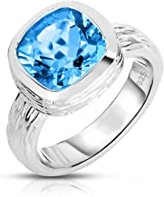 Unique Royal Jewelry Sterling Silver Natural Blue Topaz Tree Bark Finish Heavy Casting Ring