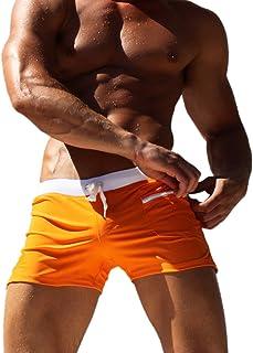 Caeser Archy Men's Swim Trunks Pants Quick Dry Swimwear Shorts Slim Wear Zipper Pocket