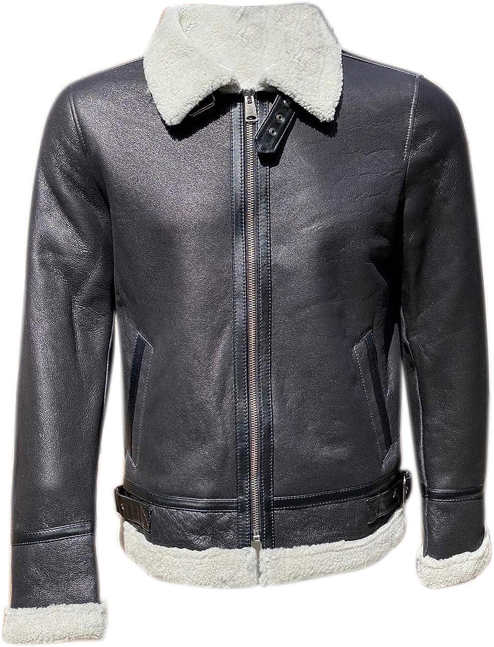 Quality wears usa Mens Sheepskin Shearling Leather Bomber Jacket Regular & Special Sizes (Black-White Fur)