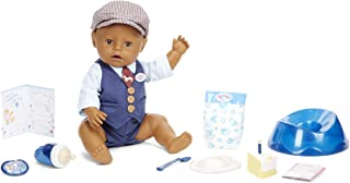 Baby Born Interactive Boy Baby Doll Party Theme – Brown Eyes with 9 Ways to Nurture