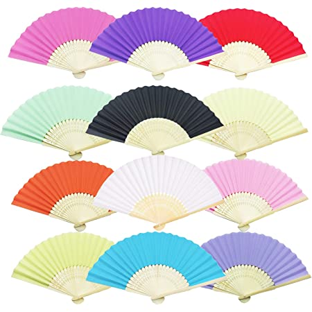 2 pc//lot Pain Colorful Paper folding Fan Bamboo Handheld Plain Fans