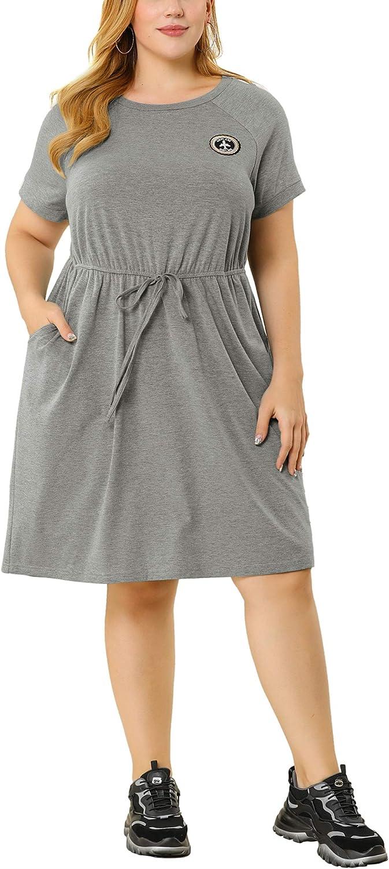 Agnes Orinda Plus Size T Shirt Dress for Women Short Sleeve Pocket a Line Casual Comfy Tee Midi Dresses