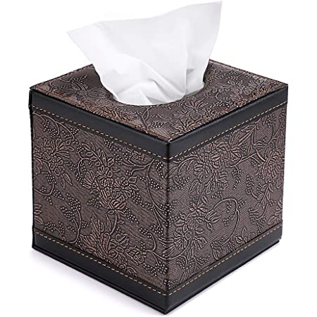 Durable PU Leather Tissue Box Case Cover  Paper Napkin Holder Home Office