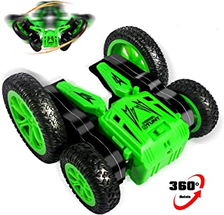 RC Cars Stunt Car Toy, 4WD 2.4Ghz Remote Control Car Double Sided Rotating Vehicles 360° Flips, Green RC Cars for Kids Birthday Gifts