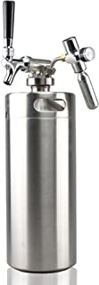 NutriChef Pressurized Growler Tap System - Stainless Steel Mini Keg Dispenser Portable Kegerator Kit - Co2 Pressure Regulator Keeps Carbonation for Craft Beer, Draft and Homebrew - PKBRTP100 (128oz)