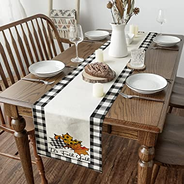 Artoid Mode It's Fall Y'all Maple Polka Dot Leaves Buffalo Plaid Table Runner, Seasonal Autumn Harvest Vintage Kitche