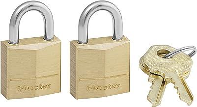 Master Lock Padlock, Solid Brass Lock, 3/4 in. Wide, 120T (Pack of 2-Keyed Alike)