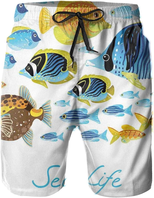 MUJAQ Vivid Underwater Life with Freshwater Tropical Fish Creatures Sea Artwork Mens Swim Shorts Casual Workout Short Pants Drawstring Beach Shorts,XL
