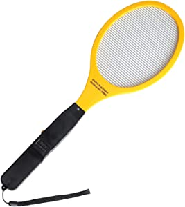 Electric Bug Zapper Fly Swatter Zap Mosquito, High Efficient Single Layer Mesh Design, Best for Home Indoor & Outdoor Pest Control (AA Batteries Not-Included) - Yellow