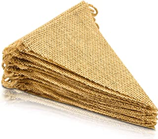 ThxToms [15 Pcs] Burlap Banner, DIY Party Decor for Birthday, Wedding, Baby Shower and Graduation, 14ft