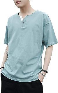 [アルトコロニー] ヘンリーネック tシャツ フェイク ボタン 五分袖 半そで お洒落 シンプル カジュアル M ~ XL メンズ