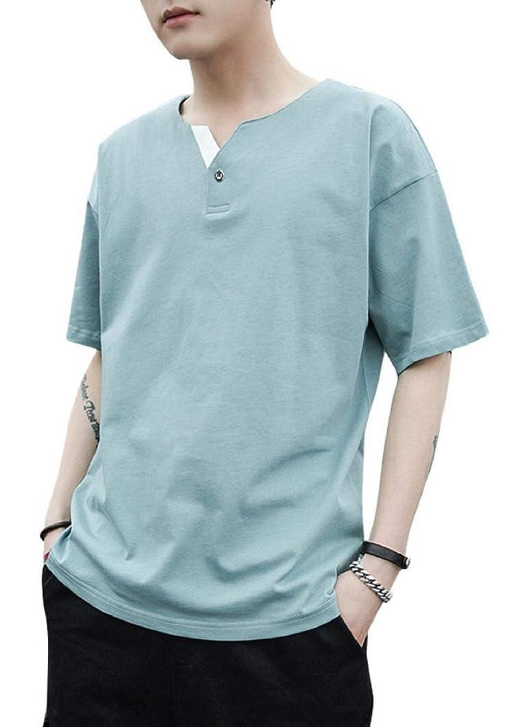 伝染病世論調査ラショナル[アルトコロニー] ヘンリーネック tシャツ フェイク ボタン 五分袖 半そで お洒落 シンプル カジュアル M ~ XL メンズ