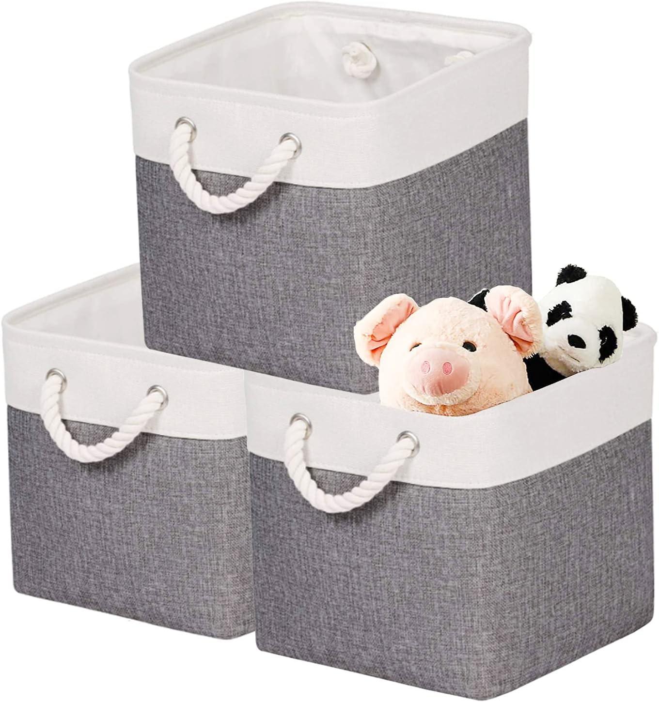 JouYooQ Storage Baskets Organizing Foldable Fabric Durable Rope Handles Closet Boxes Cloth Linen Toys Cloth Storage Bins Cubes Organizer Bedroom Grey (Medium-3pack)
