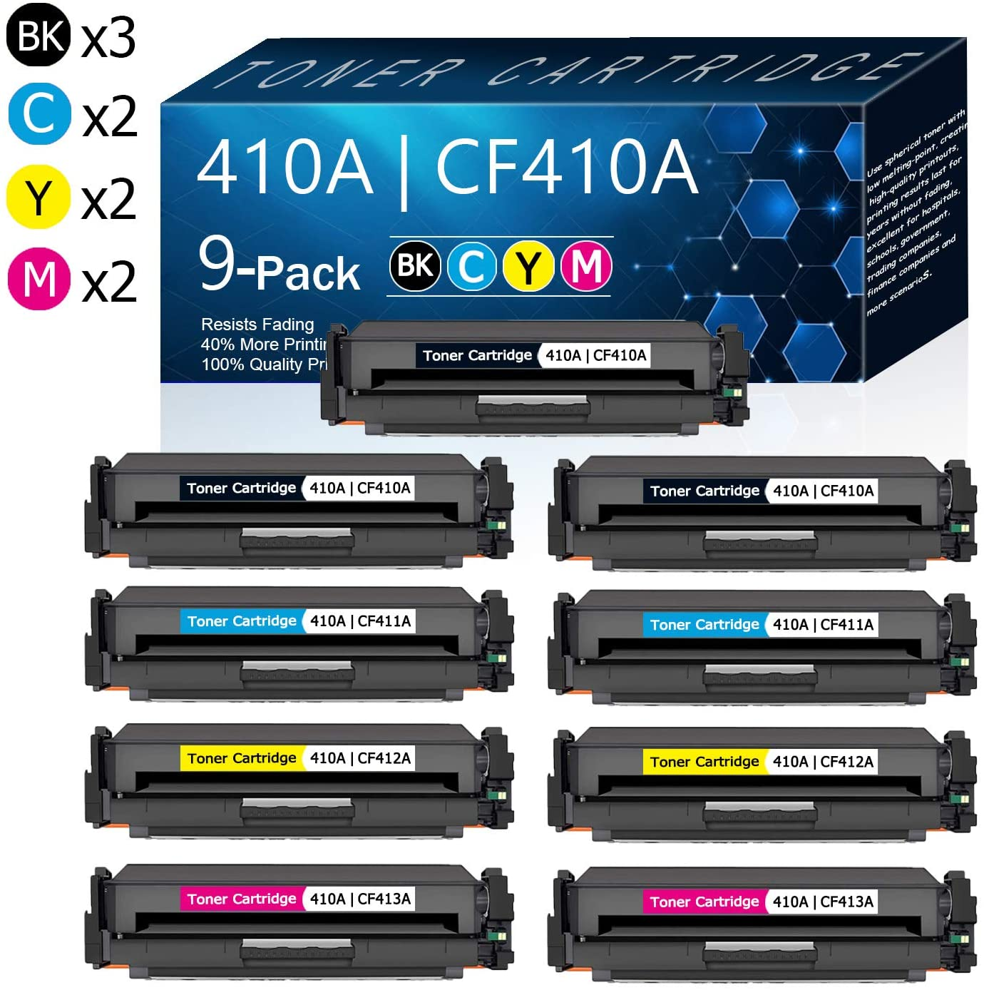 9 Pack (3BK/2C/2Y/2M) 410A | CF410A CF411A CF412A CF413A Compatible Toner Cartridge Replacement for HP Color Pro MFP M477fdn M477fdw M477fnw Pro M452dn M452dw M452nw Printers Toner.