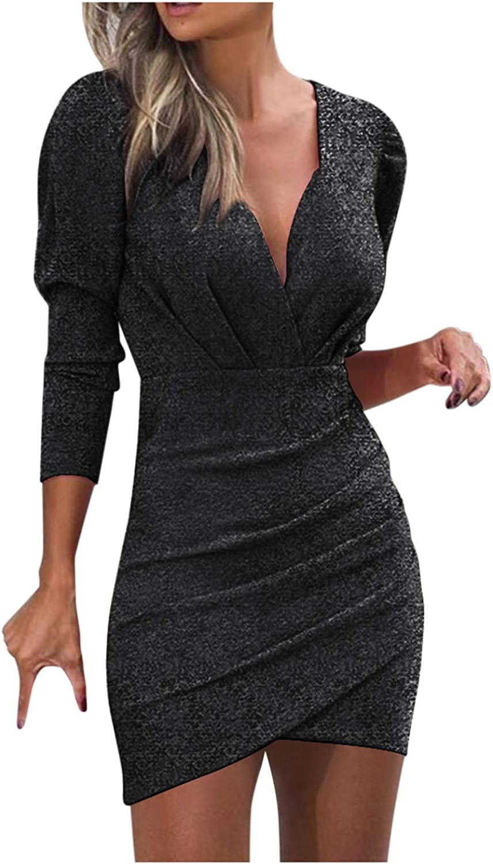 haoricu Womens Sexy Glitter Deep V Neck Ruched Long Sleeve Mini Party Club Bodycon Dress Nightclub Dresses