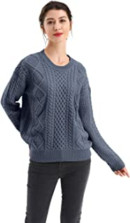 BodiLove Women's Crew Neck Cable Knit Pullover Classic Fit Sweater