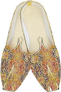 INMONARCH Mens Orange Jute Silk Wedding Shoes Floral Designs MJ18319