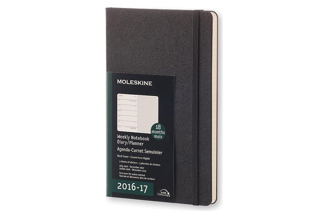 小道具静める実用的Moleskine 2016-2017 Weekly Notebook, 18M, Large, Black, Hard Cover (5 x 8.25)