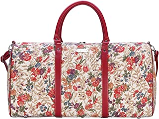 Signare Tapestry Large Duffle Bag Overnight Bags Weekend Bag for Women with Flower Meadow Design