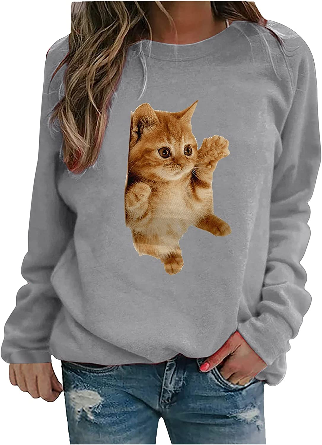 Women's Cute Cat Print Tops Casual Long Sleeve Crewneck Basic Shirt Loose Fitted Pullover Graphic Tee Fall Sweatshirt