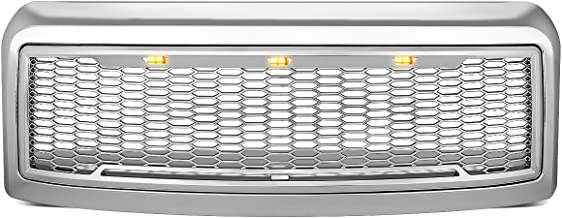 DNA Motoring GRL-F25008MESH-CH Chrome Mesh Front Grille with Shell with LED [For 08-10 Ford F250/F350 SD]