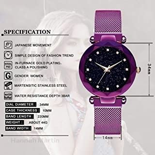 Acnos Black Round Diamond Dial with Latest Generation Purple Magnet Belt Analogue Watch for Women Pack of - 1 (DM-PURPLE06)