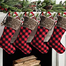 Meriwoods Chirstmas Stockings, 18 Inches 4 Pack Rustic Xmas Stockings with Buffalo Plaid and Plush Faux Fur Pom Poms, Holi...