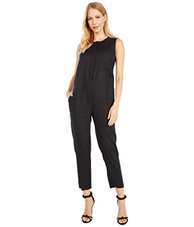 Eileen Fisher Petite Round Neck Ankle Length Jumpsuit (Black) Women