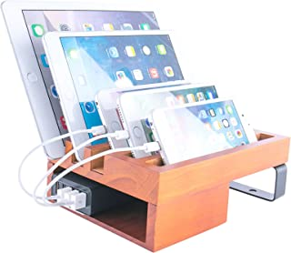 JackCubeDesign Wood Stand for Smartphone, Watch, Tablet/Mobile Charging Station Dock Port/ 5 Compartments Organizer Storage: MK345A (Not Including Charging Hub)
