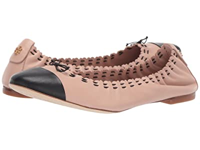 Tory Burch Simone Ballet Flat (Goan Sand/Perfect Black) Women