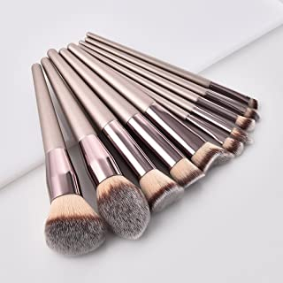 GUJHUI Professional 10Pcs Makeup Brush Set Powder Foundation Brush Eyebrow Eyeshadow Cosmetic Make Up Tools Toiletry Kit for Women Girl