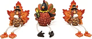 Gift Boutique Thanksgiving Turkey Ceramic Shelf Sitters Decorations 3 Pack Desk Mantel Table Topper Centerpiece Fall Harvest Turkeys Sitting Leg Figurines Autumn Home Indoor Party Accessories