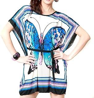 LOCOMO Women Butterfly Bat Wing Sleeve Mini Tunic Dress Black Blue S-M FFD018