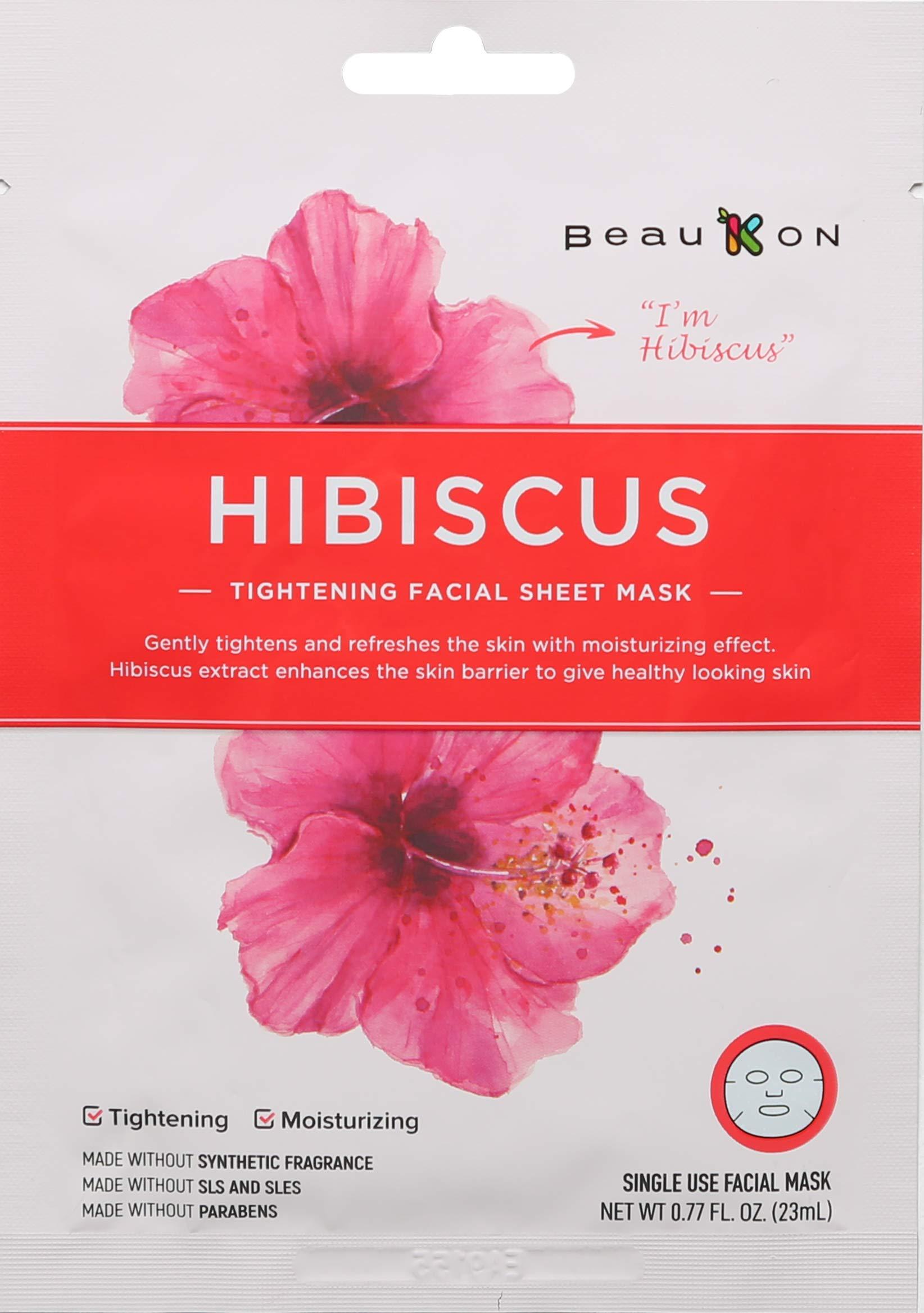 BeauKON Hibiscus Tightening Facial Sheet Mask, Korean Daily Face Mask, Tightening and Moisturizing (4 Pack)