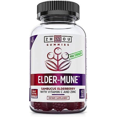 Zhou Elder-Mune Sambucus Elderberry Gummies | Antioxidant Flavonoids, Immune Support, Zinc & Vitamin C Supplement | 30 Servings, 60 Gummies