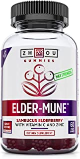 Zhou Elder-Mune Sambucus Elderberry Gummies | Antioxidant Flavonoids, Immune Support, Zinc & Vitamin C Supplement | 30 Ser...