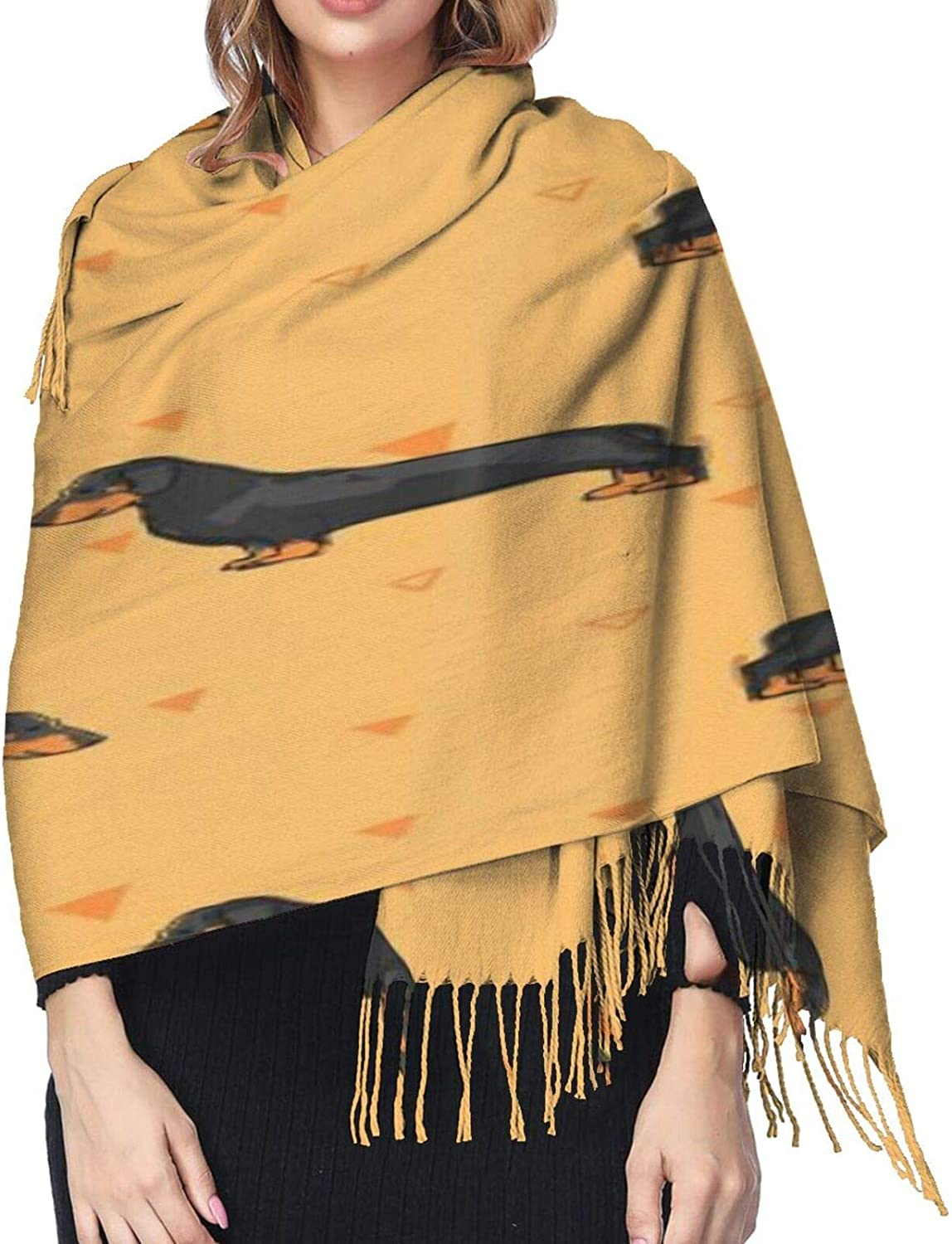 Cashmere fringed scarf seamless Cute dogs winter extra large scarf