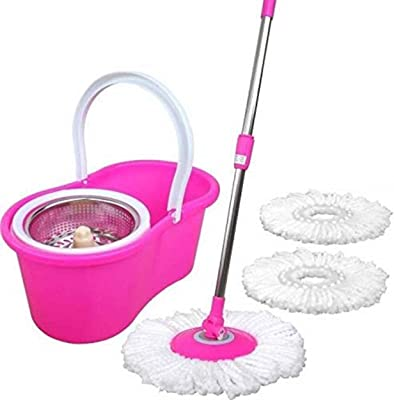 Ashley Easy Magic Floor Mop 360 Degree Bucket 2 Heads Microfiber Spin Spinning Rotating Head (Pink) (Color May Vary)
