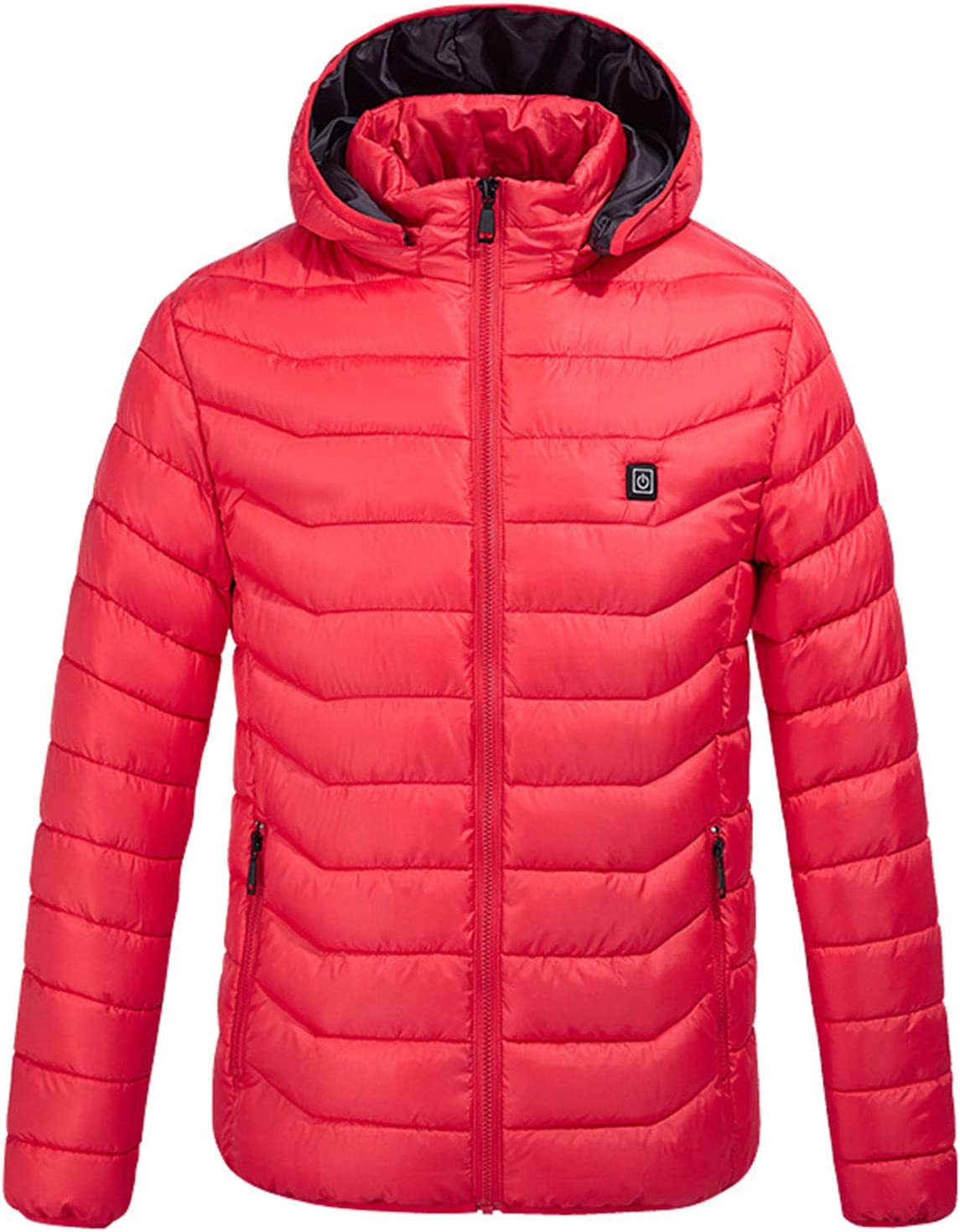 DALLL Heated Jacket Men's Electric Heated Jacket for Outdoor Work and Daily wear,Red,L