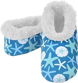 Womens 2G Furry Nice Cozy Sherpa Non Skid Slipper Socks - Starfish and Seashells, Small
