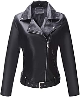 Bellivera Women's Faux Leather Short Jacket,Moto Casual Coat for Spring and Autumn