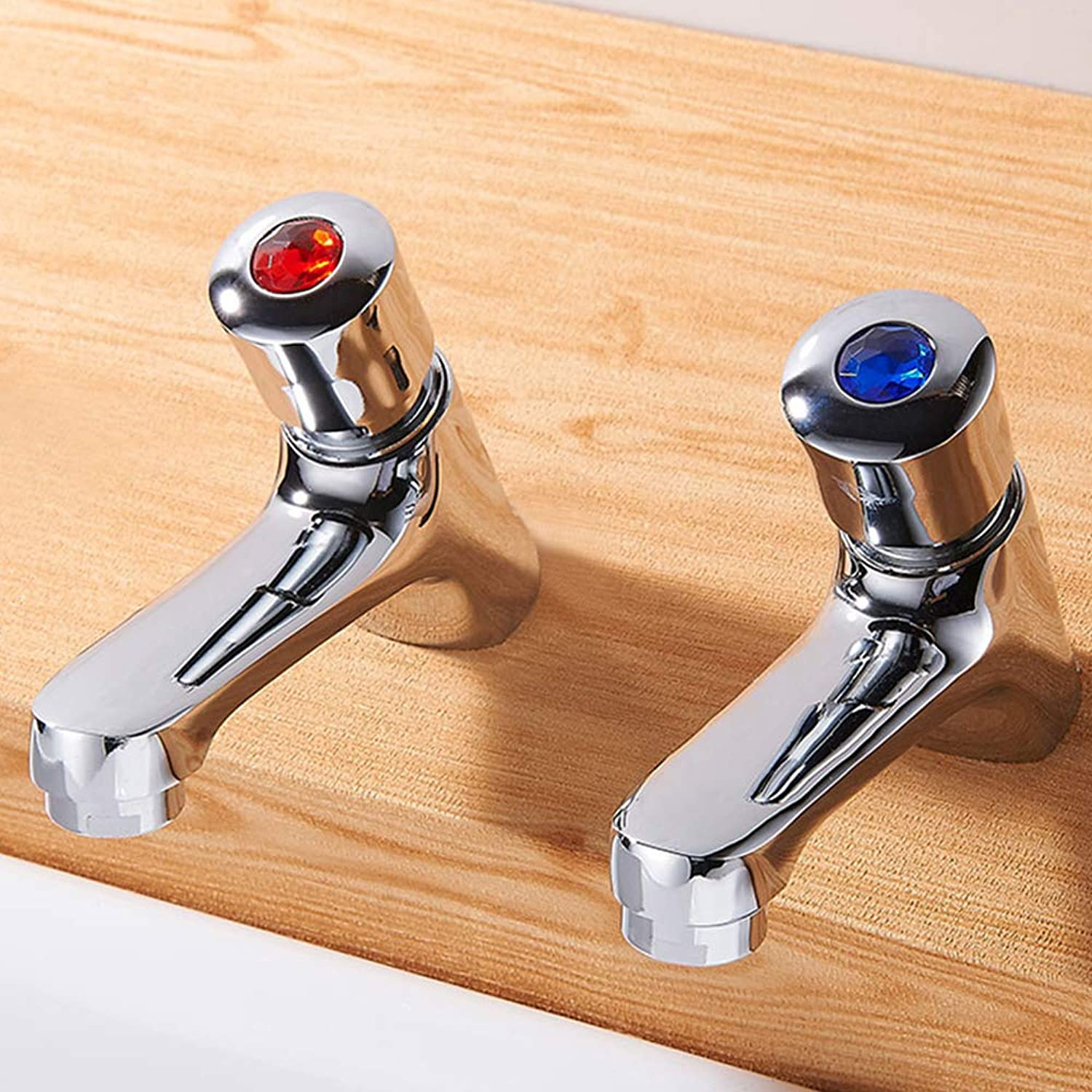 1 Pair Self Closing Basin Taps Commercial Bathroom Sink Water Saving Faucet Hot&Cold Chrome Lead-Free for Home Hotel Public Toilet
