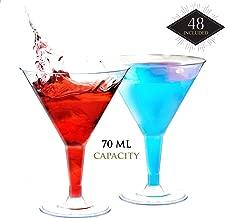 48 Mini Copas de Martini Plástico, Transparente 70ML|Resistentes, Desechable o Reutilizable| Pequeñas Copas de Cóctel para Cócteles Postres Dulces Aperitivo en Fiestas Cumpleaños Bodas Navidad.