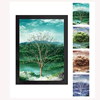 Four Seasons Tree 3D Poster Wall Art Decor Framed Print | 13.5x17.4 | | Beautiful Nature Scene of Changing Four Seasons Spring Summer Fall Winter Scenery Mural